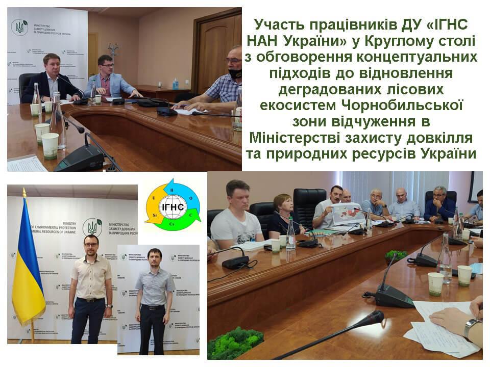 Участь у Круглому столі з обговорення концептуальних підходів до відновлення деградованих лісових екосистем Чорнобильської зони відчуження